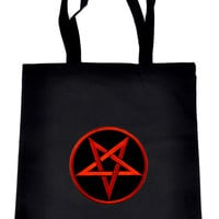 Red Inverted Pentagram on Black Tote Book Bag Occult Handbag