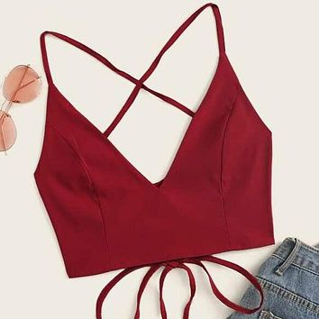 Crisscross Lace-Up Back Cropped Cami Vest Tank Top