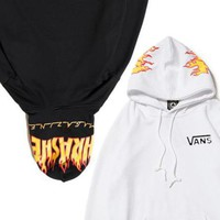 Vans x Thrasher Women Men Fashion Print Long Sleeve Hoodies Sweater Black White