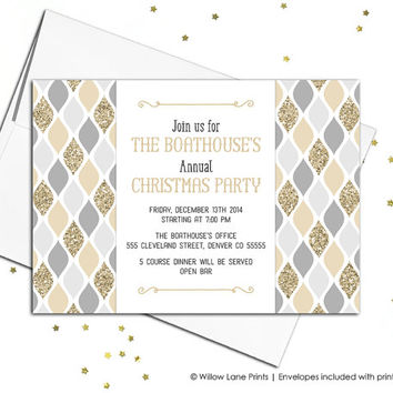 Gold and silver christmas party invitations printable - faux glitter holiday party invites - corporate party invitation event - DIY (560)