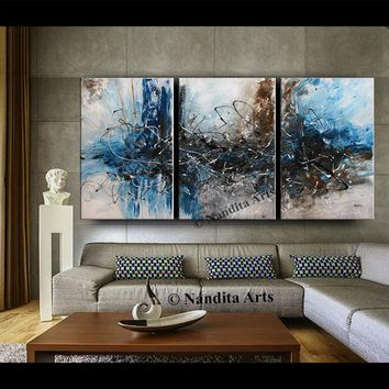 Acrylic Modern Abstract Painting Framed Canvas Art Contemporary Art Brown Blue Turquoise Fine Art Home Decor Wall Hanging Artwork by Nandita