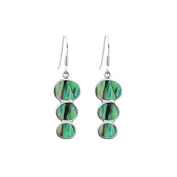 AE-1007-AB Sterling Silver Tripple Drop Earring With Abalone Shall
