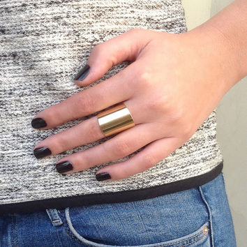 Gold Tube Ring - wide band ring adjustable tube finger ring Gold Plated