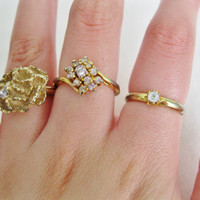 Gold Rose and Diamond Costume Vintage Rings Set of 3