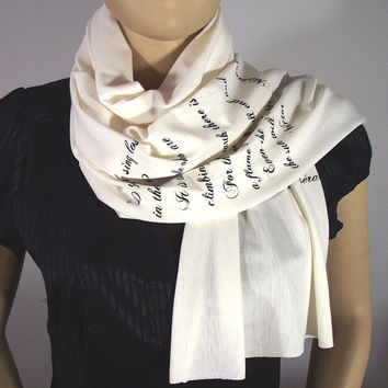 LES MISERABLES Quote Scarf Literary Scarf Jersey Handprinted Scarf - IVORY - Raw Edges Scarf Text Scarf Book Lovers Gifts
