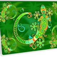 'Gecko Lizard Colorful Tattoo Style' Laptop Skin by BluedarkArt