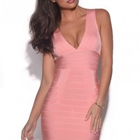 Meliz Pink V Neck Bandage Dress
