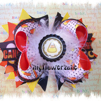 Halloween Hair Bows - Candy Corn Hair Bows - Orange Black Yellow  Hair bows - OTT - Halloween Hairbows - Stacked Boutique Hair bows