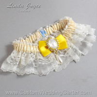 Ivory and Yellow Wedding Garter Lace Bridal Garter 871 Ivory - 645 Sunglow Yellow Prom Garter Plus Size & Queen Size