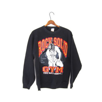 Black ROCK SOLID 80s Sweatshirt Athletic GYM Pullover Weight Lifting 10,000 Sins Workout 1980s Sweater Top Small Medium Large