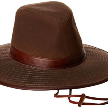 Dorfman Pacific Men's Oil Cloth Safari Hat With Leather Trim, Brown, Large