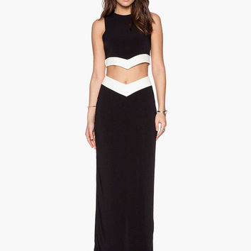 Black with White Trim Cropped Top and Maxi Skirt