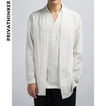 Sinicism Store INS Men Clothes 2018 Mens Cotton And Linen Solid Causal Kimono Black Jacket Male Korean Style Windbreaker