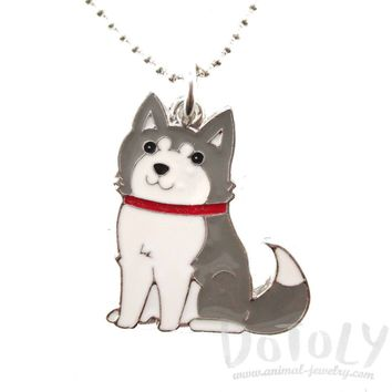 Adorable Puppy Dog Shaped Animal Pendant Necklace in Grey and White