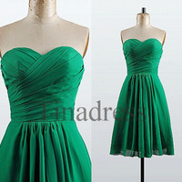Custom Emerald Short Bridesmaid Dresses 2014 Cheap Bridesmaid Dress Wedding Party Dress Homecoming Dresses Prom Dresses Evening Dresses