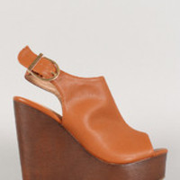 Women's Leatherette Peep Toe Faux Wood Sling Back Mule Wedge