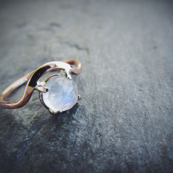 Rose Cut Moonstone Curved Engagement Ring Prong Setting Unique One of a Kind Ready to Ship Size 6