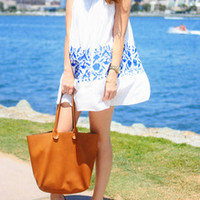 White Sleeveless Vintage Print Dress -SheIn(Sheinside)