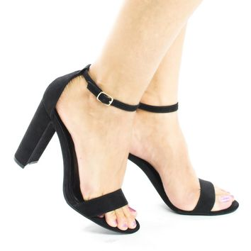 Arianna1 Black By Aquapillar, Classic Open Toe Ankle Cuff Chunky Heel Sandals