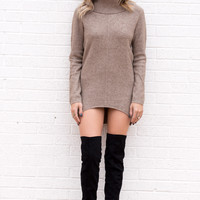 Taupe Textured Long Sleeve Turtle Neck Tunic