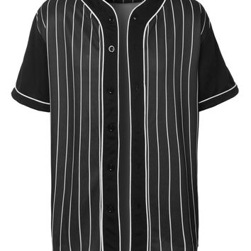 Mens Sports Striped Short Sleeve Button Down Baseball Jersey