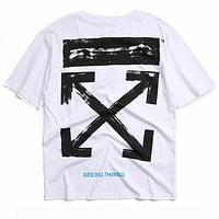 OFF-WHITE Tide brand fireworks starry ink printing men and women round neck half sleeve shirt white