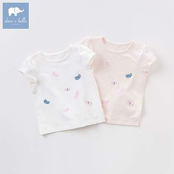 DB7213 dave bella summer lolita baby t-shirt children butterfly print tops baby girls boutique tees