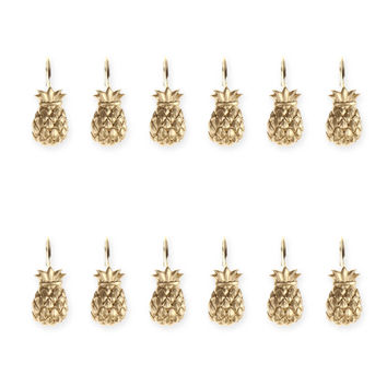 Golden Pineapple Shower Hooks in Ivory (Set of 12)