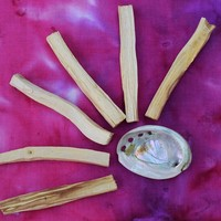 "PALO SANTO SET - 6 pack of ""Holy Wood"" Incense Stick & Shell Burner - Bring in Good Vibes & Spirits"