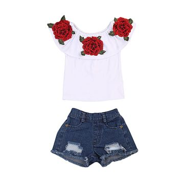 Flower Tops T-Shirts Denim Hot Shorts Outfits Clothing Girl New Fashion Toddler Kids Baby Girls Clothes Sets