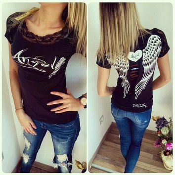 Fashion Casual Print Lace Splicing Short Sleeve Shirt Top Tee