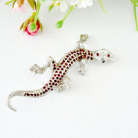 Vintage 1950's silver tone and red rhinestone lizard brooch
