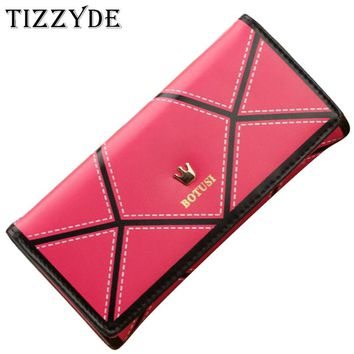 2015 New Korean Women's Wallets Fashion Crown spell color Clutch bag Feminina Carteira Purse Phone package LCS013