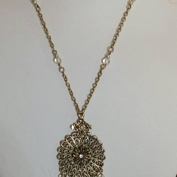 Vintage Goldtone Filigree Pendant Necklace with Faux Pearl Bead Tassel, 1920s