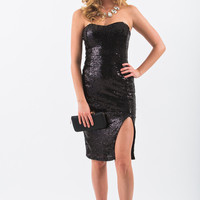 Jenna Black Sequin Strapless Midi Dress