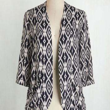 Mid-length 3 Ikat Believe It Cardigan by ModCloth