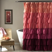Ruffle Shower Curtain Peach/Plum - Gifts for You and Me