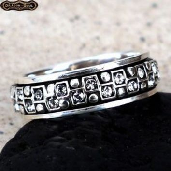 925 Sterling Silver - Russian CZ Spinning Ring - Unique Eternity Band Size-9 NEW