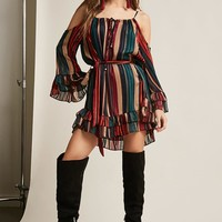 Multi-Stripe Open-Shoulder Dress