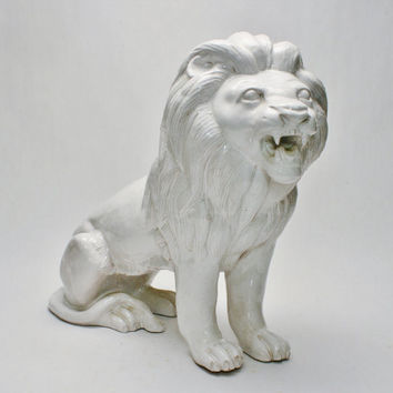Large Italian Lion Statue 1960s Era Art Pottery Ceramics Neo Classical Hollywood Regency Style Pottery Bitossi Gambone Londi Era