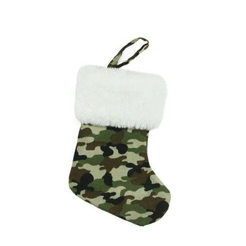 ONETOW 7' Army Camouflage Mini Christmas Stocking with White Faux Fur Cuff