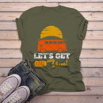 Men's Vintage Van T Shirt Camping Shirts Let's Get Lost Graphic Tee Travel Road Trip TShirt
