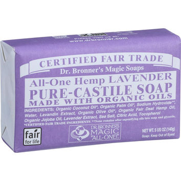 Dr. Bronner's Pure Castile Soap - Fair Trade and Organic - Bar - All One Hemp - Lavender - 5 oz