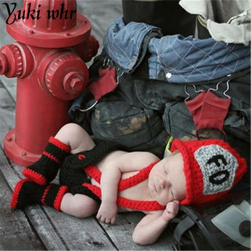 2017 Cute Baby Crochet Accessories Photo Hats & Pants & Shoes Baby Boy Baby Clothing Fireman's Photo Newborn Photography Access