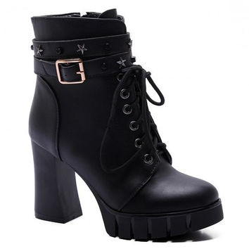 Star Pattern Lace Up Buckled Boots
