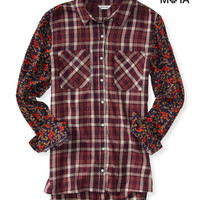 Aeropostale  Womens Long Sleeve Mixed Print Woven Shirt