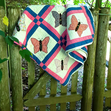 Vintage Hand Sewn Butterfly Quilt - Hand Quilted - Feed Sack Fabric - Appliqued and Embroidered - Cottage Decor