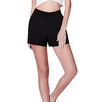 LE3NO Womens Lightweight High Waisted Button Sailor Shorts with Pockets