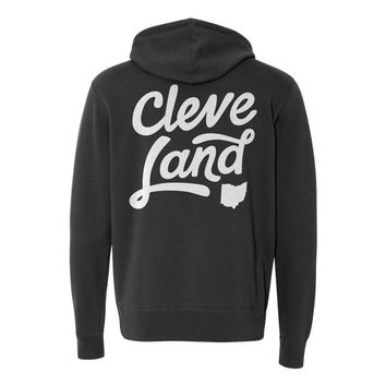 Cleve-Land Ohio - Black and White Script - Zip-Up Hooded Sweatshirt