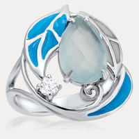 925 Silver Ring with Blue Agate, Blue Enamel, White Enamel